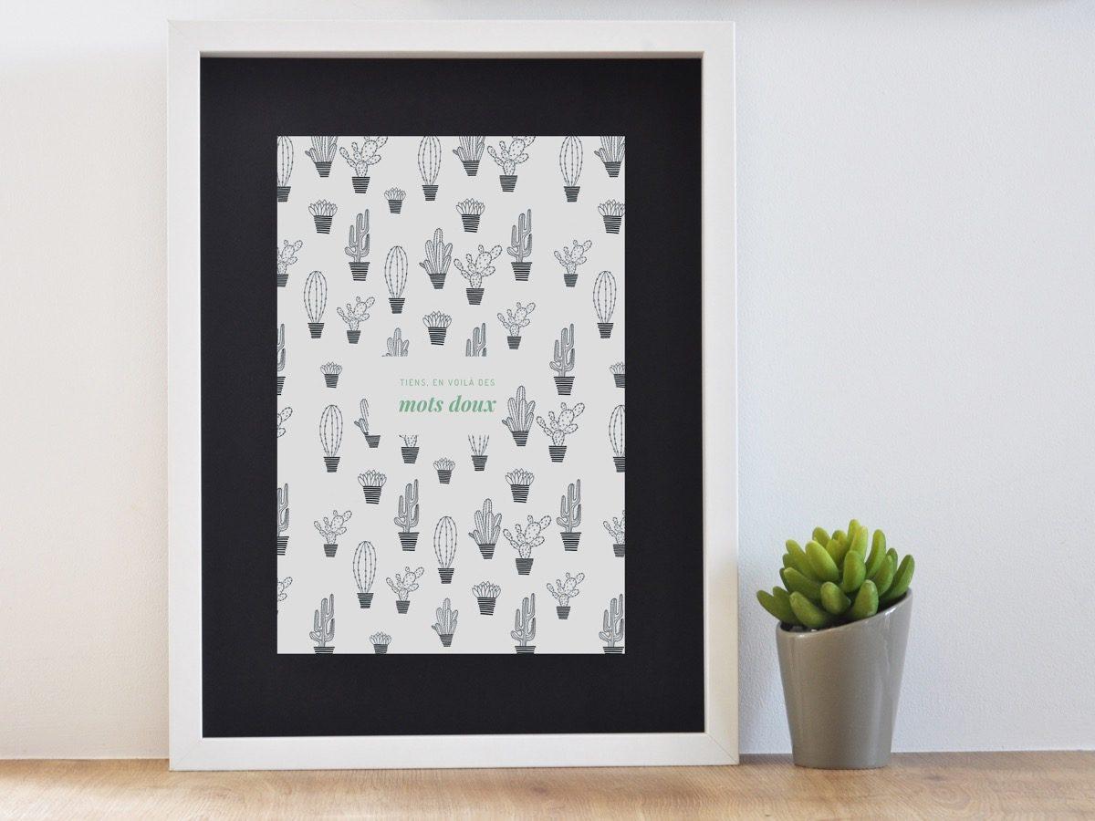 Affiche Les manies de Marion-Décoration murale-poster-encadrée cactus