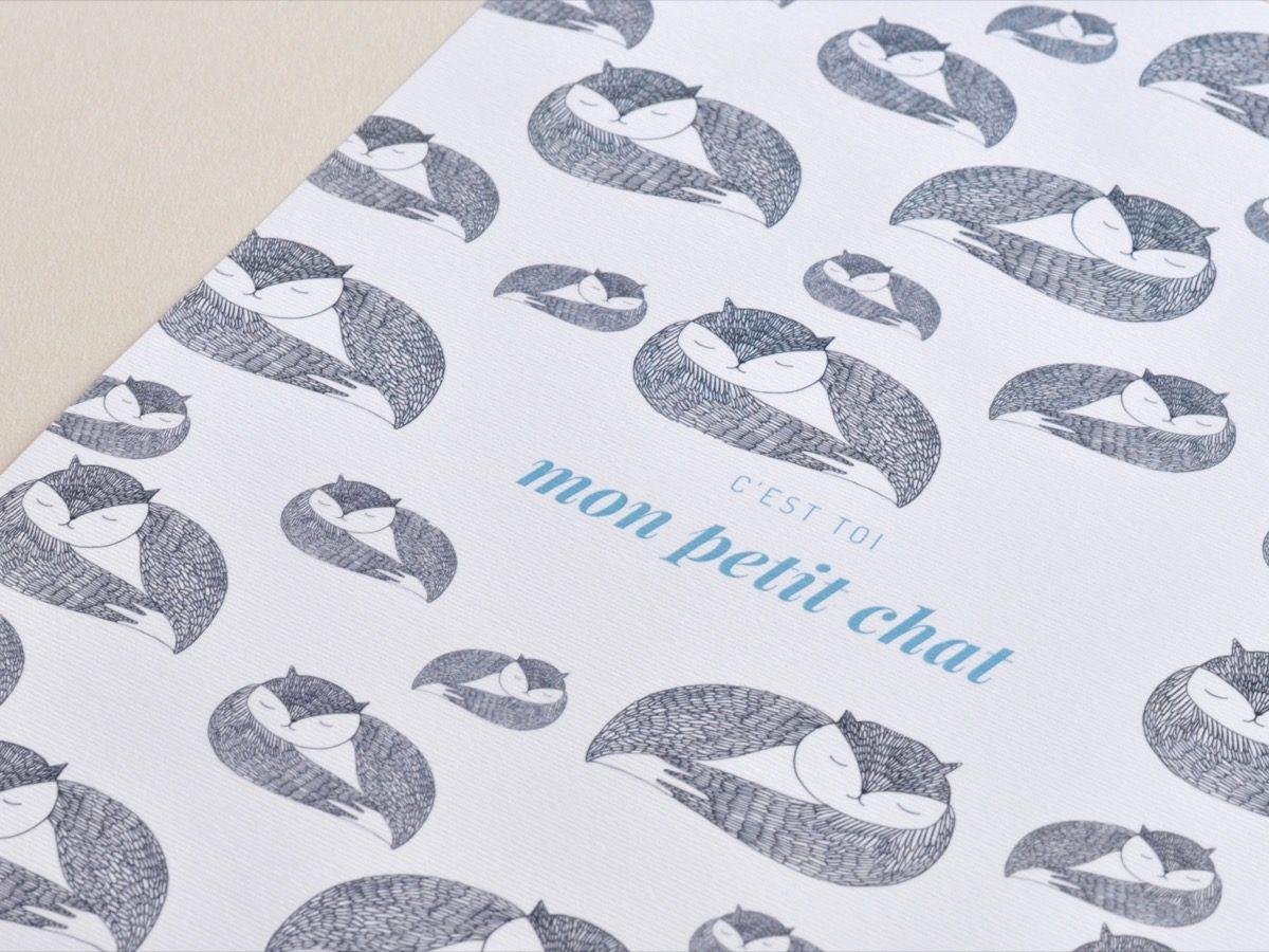 Affiche Les manies de Marion-Décoration murale-poster-détail chat