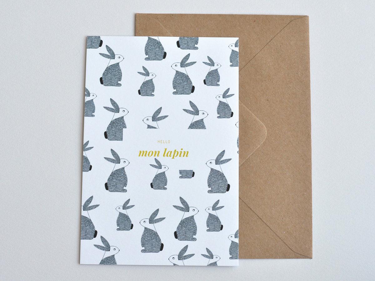 carte postale - Les manies de Marion - modèle hello mon lapin