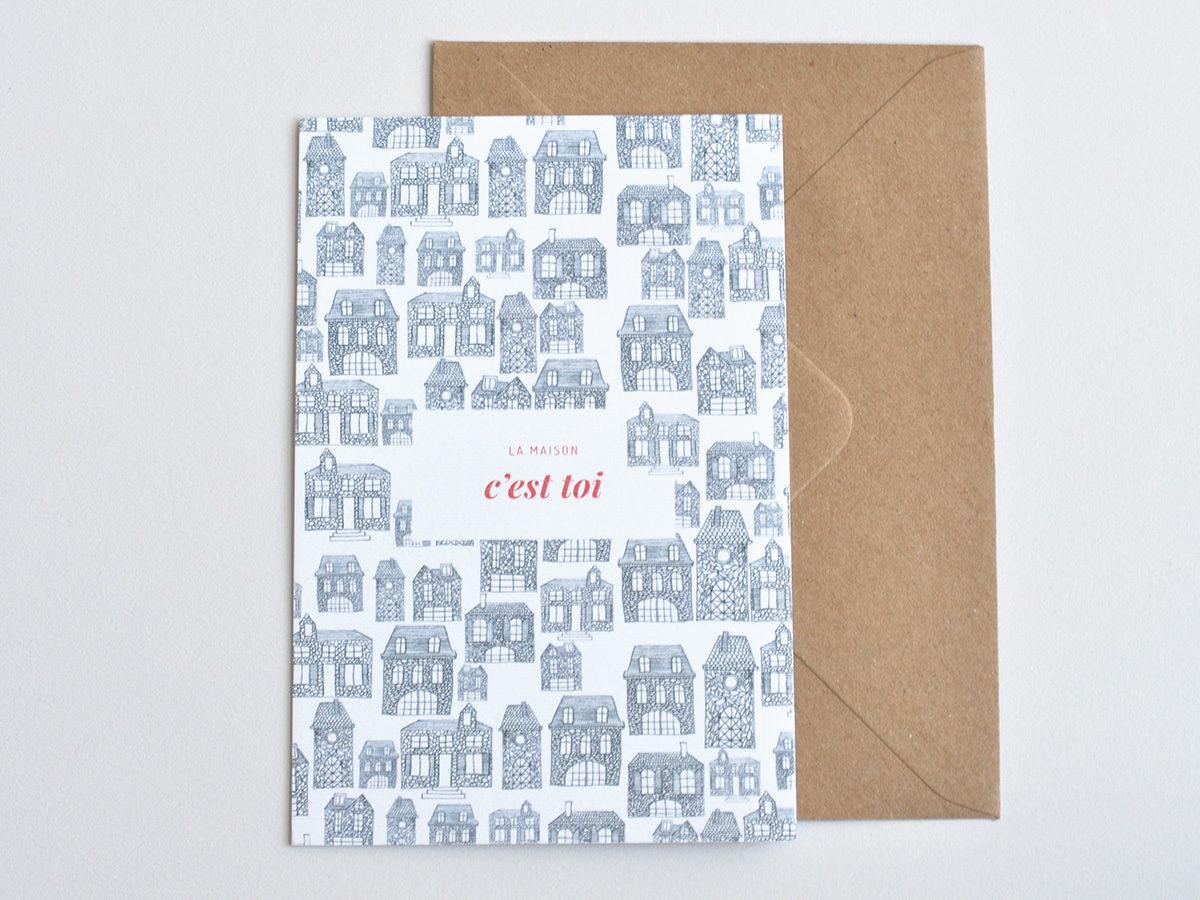 carte postale - Les manies de Marion - modèle la maison c'est toi
