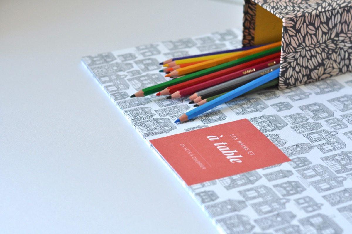 Sets de tables en papier à colorier - Les manies de Marion - modele maison, détail