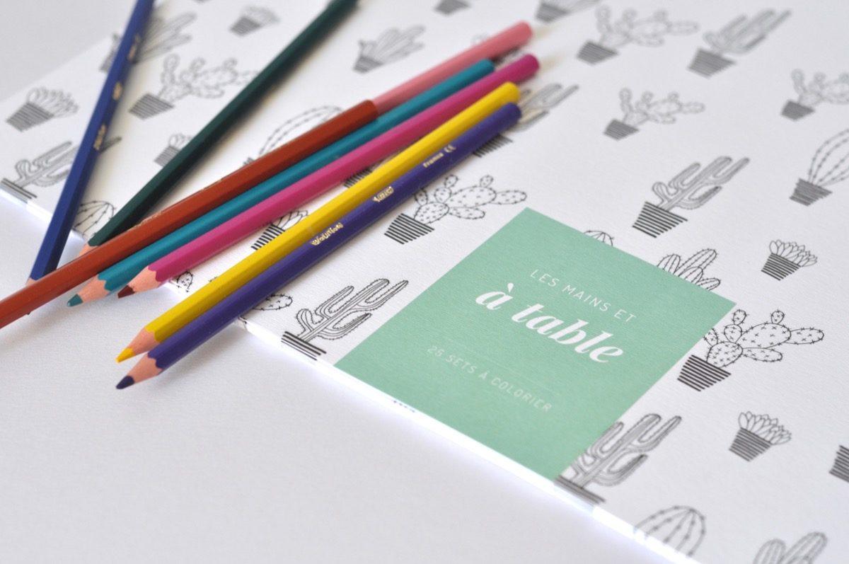Sets de tables en papier à colorier - Les manies de Marion - modele cactus, détail