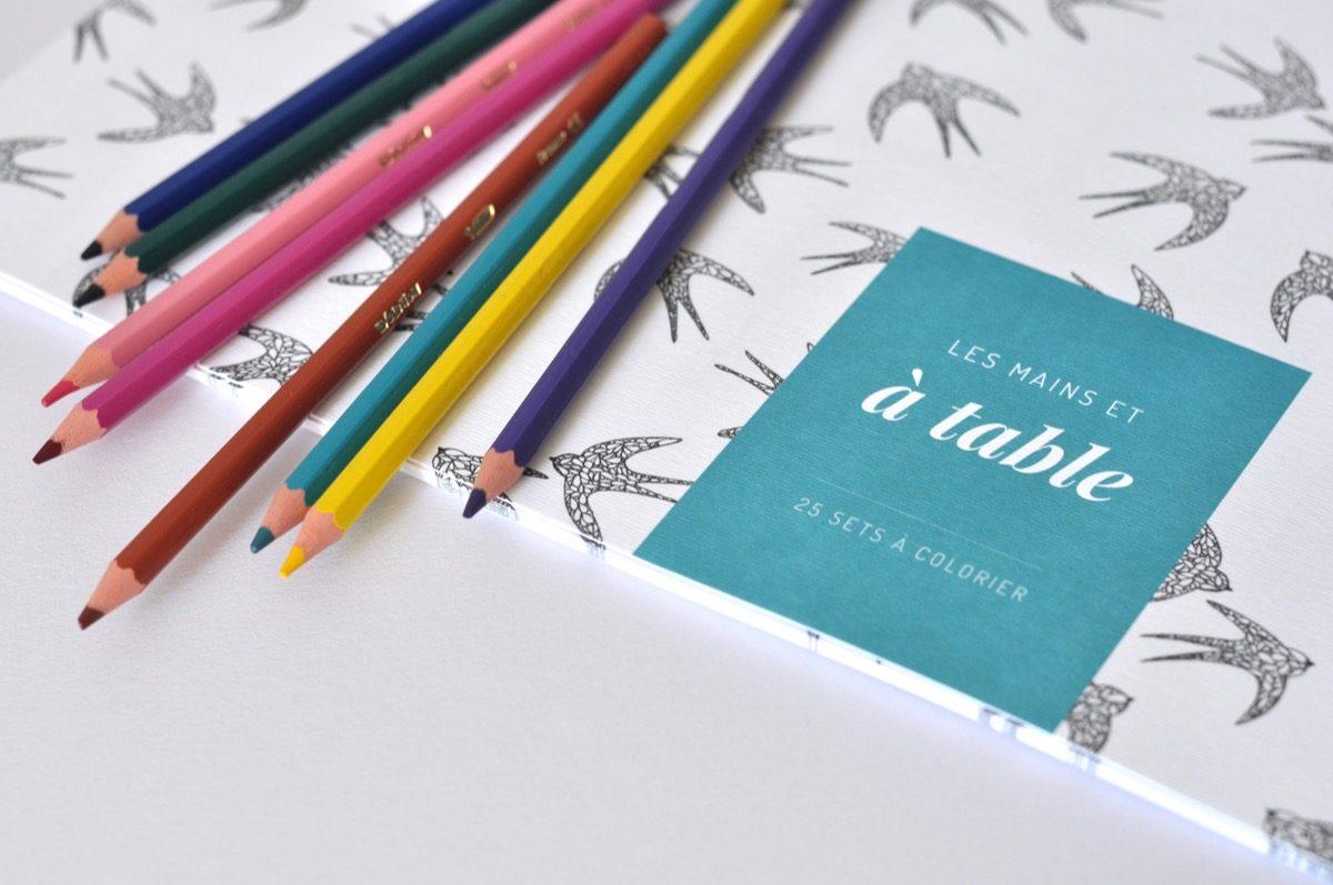 Sets de tables en papier à colorier - Les manies de Marion - modele hirondelles, détail