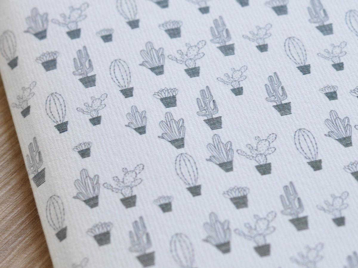 detail cahier carnet motifs cactus, les manies de Marion, papeterie française haut de gamme