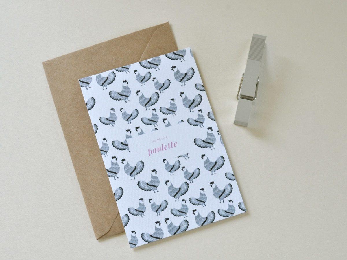 carte postale ma petite poulette, les manies de Marion, papeterie française haut de gamme