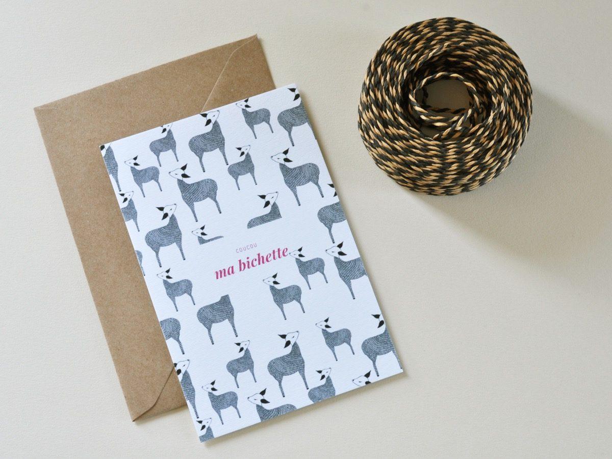 carte postale coucou ma bichette, les manies de Marion, papeterie française haut de gamme