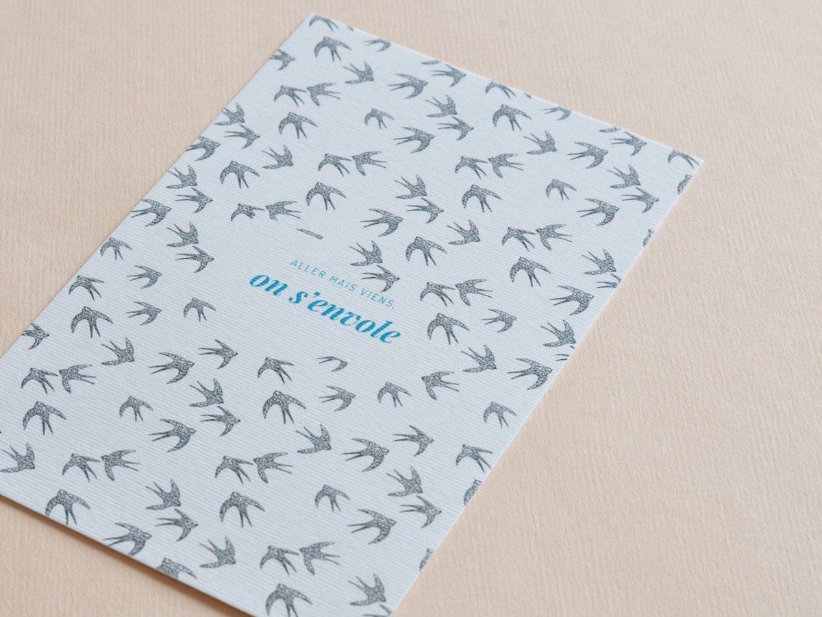 detail carte postale on s'envole, les manies de Marion, papeterie française haut de gamme