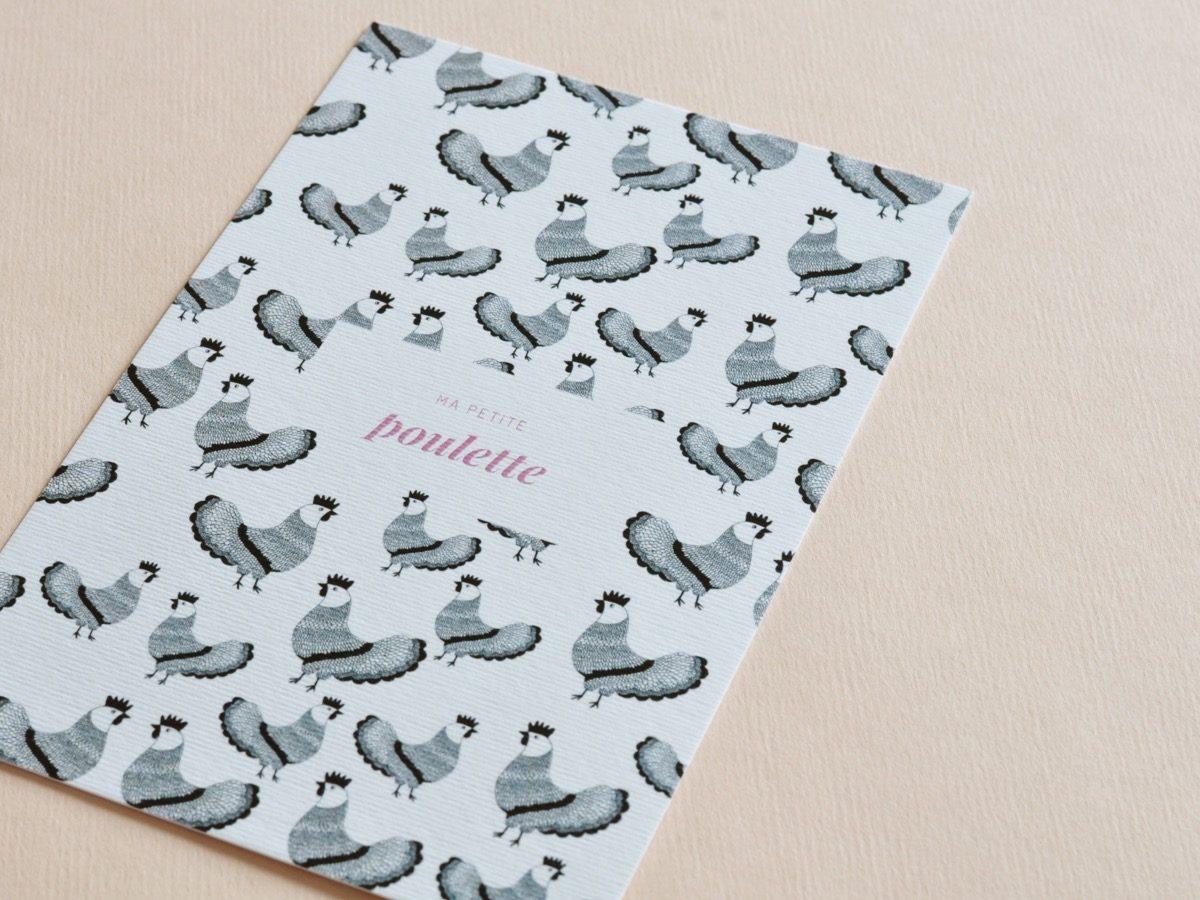 detail carte postale ma petite poulette, les manies de Marion, papeterie française haut de gamme