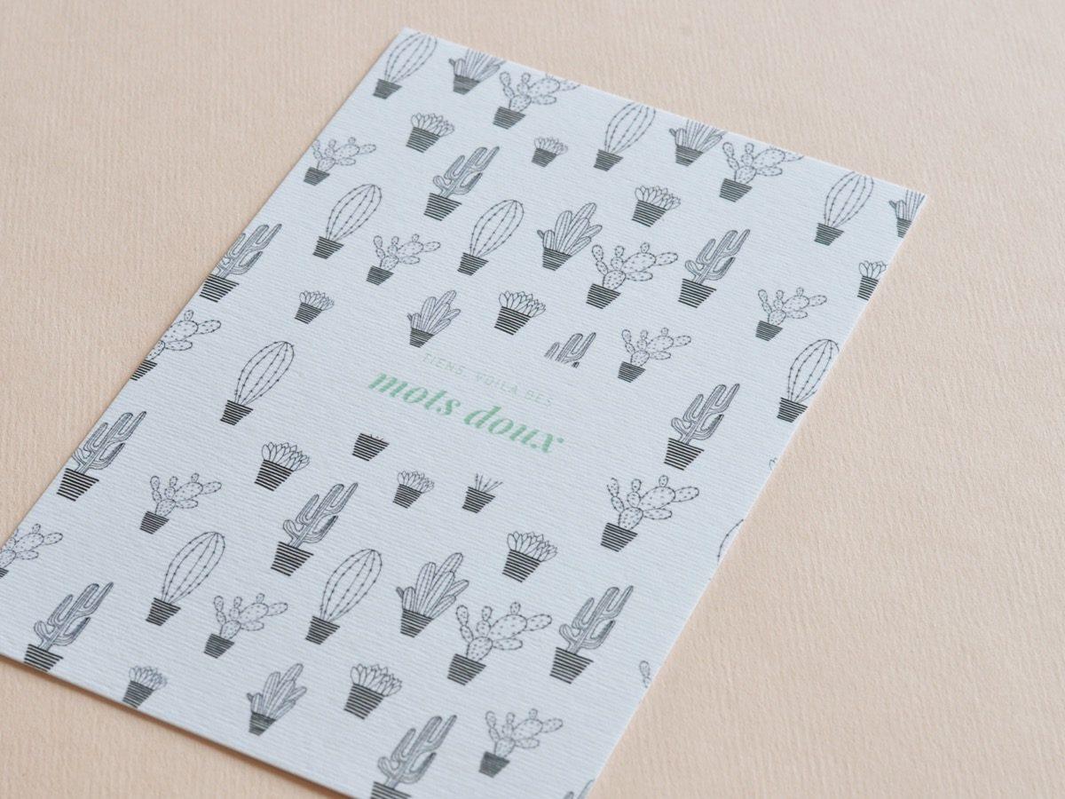 detail carte postale cactus, les manies de Marion, papeterie française haut de gamme