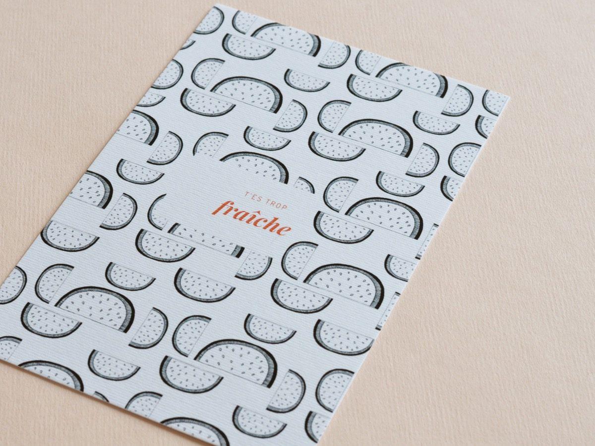 detail carte postale trop fraîche, les manies de Marion, papeterie française haut de gamme