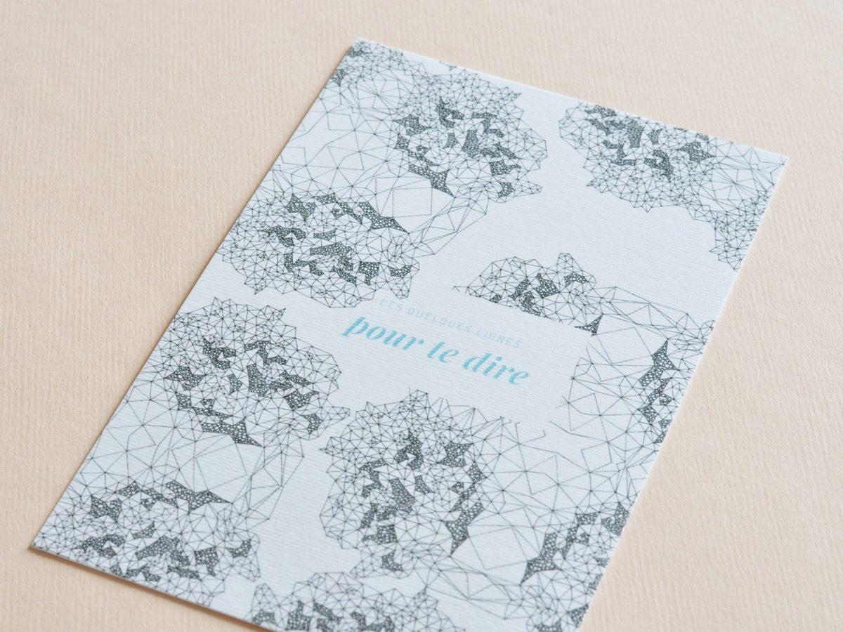 detail carte postale pour te dire, les manies de Marion, papeterie française haut de gamme
