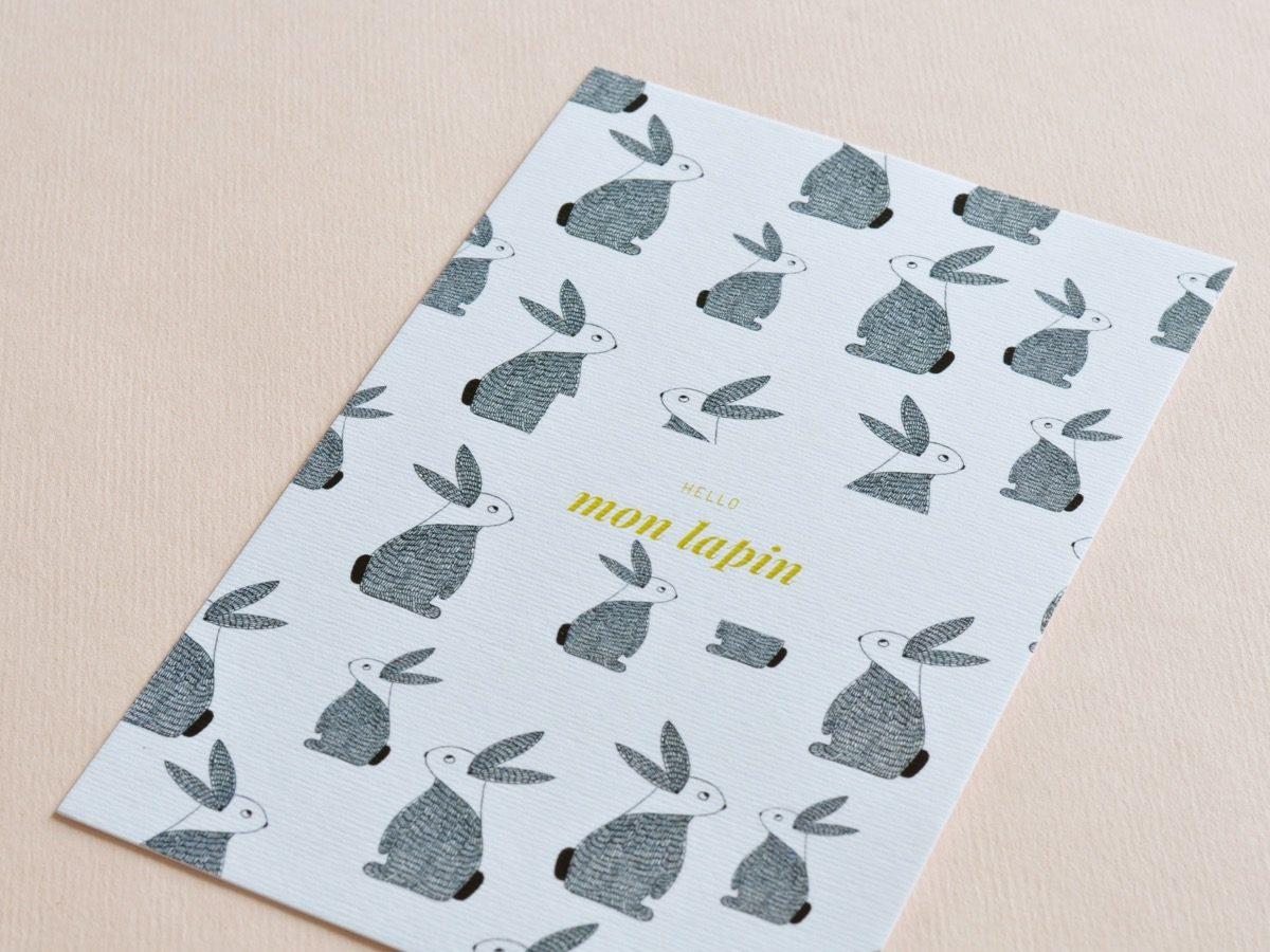 detail carte postale hello mon lapin, les manies de Marion, papeterie française haut de gamme