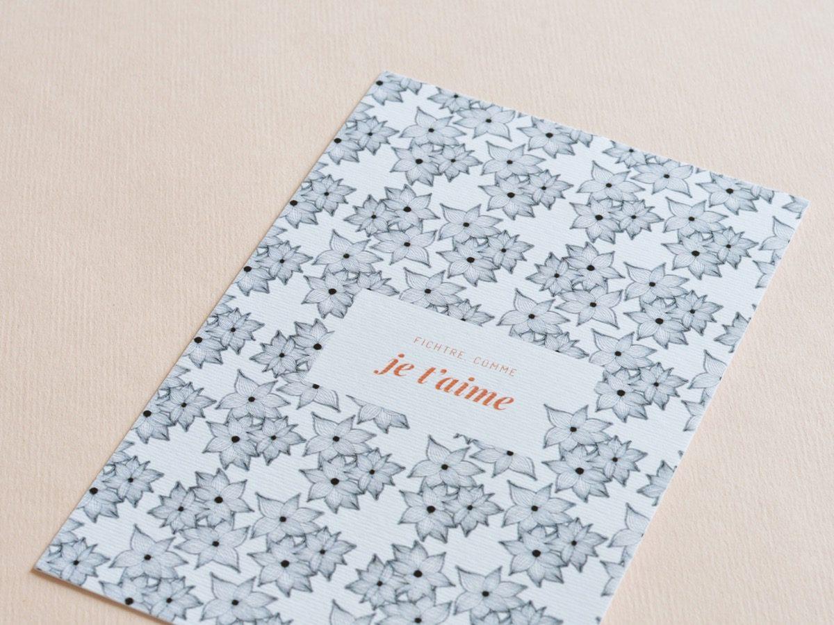 detail carte postale comme je t'aime, les manies de Marion, papeterie française haut de gamme