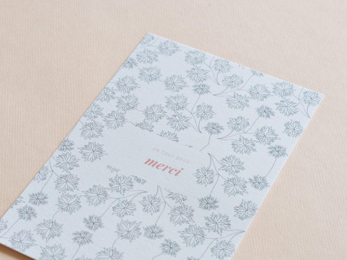 détail carte postale un tout doux merci, les manies de Marion, papeterie française haut de gamme