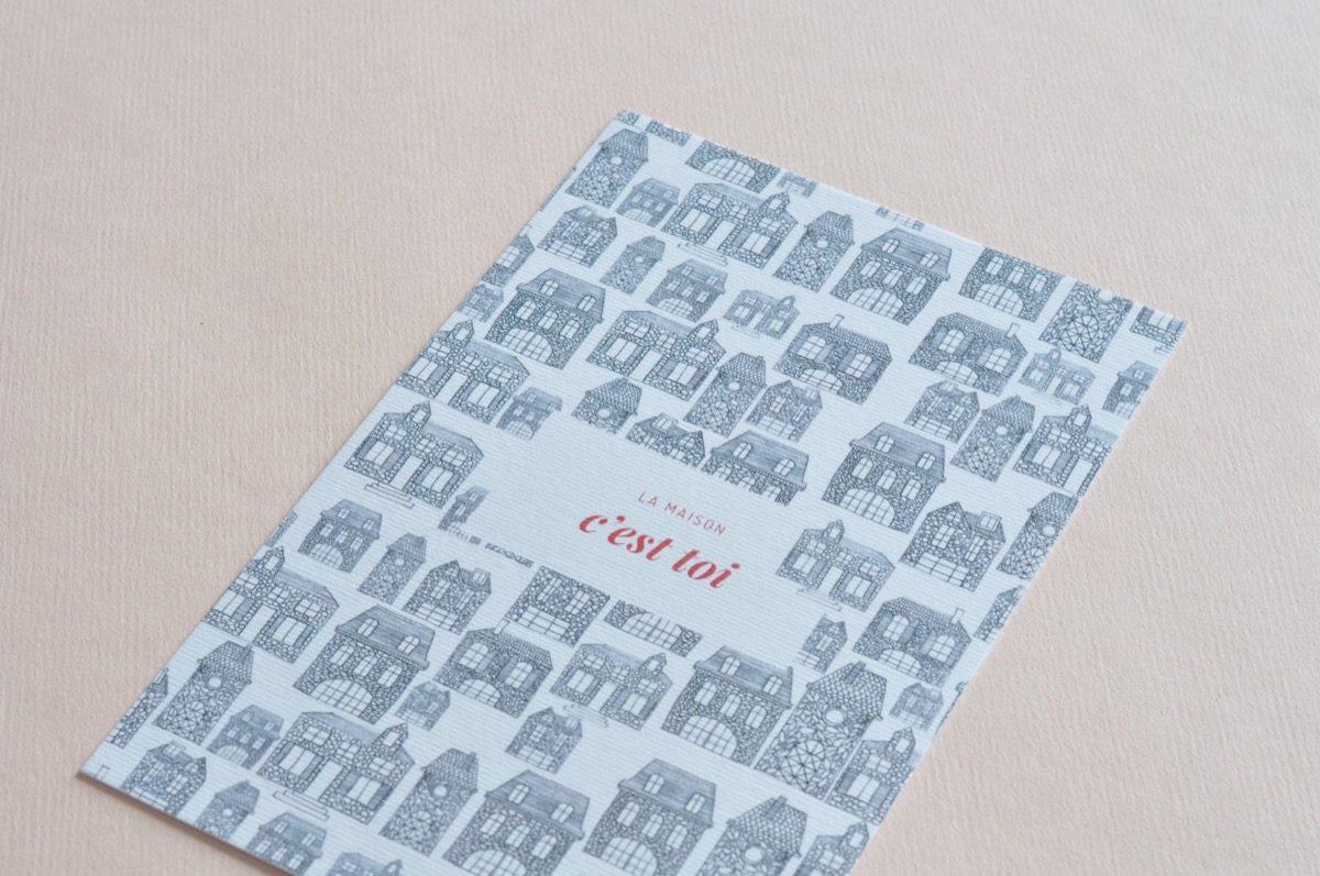 détail carte postale la maison c'est toi, les manies de Marion, papeterie française haut de gamme
