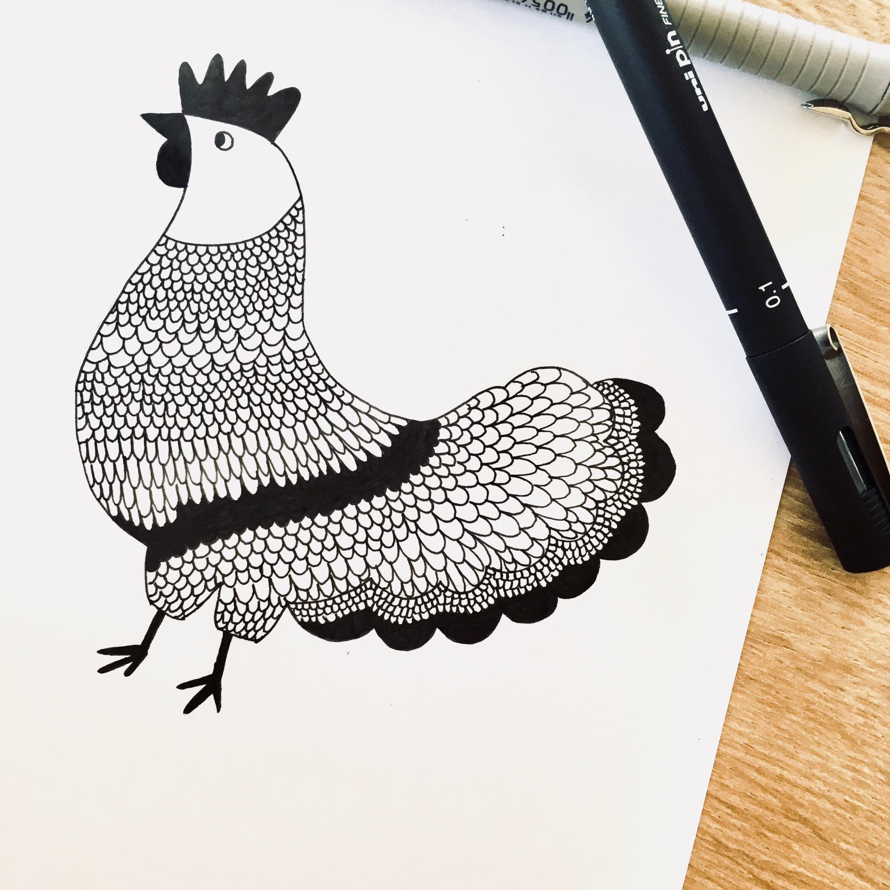 Dessin de la poulette, papeterie française haut de gamme Les manies de Marion