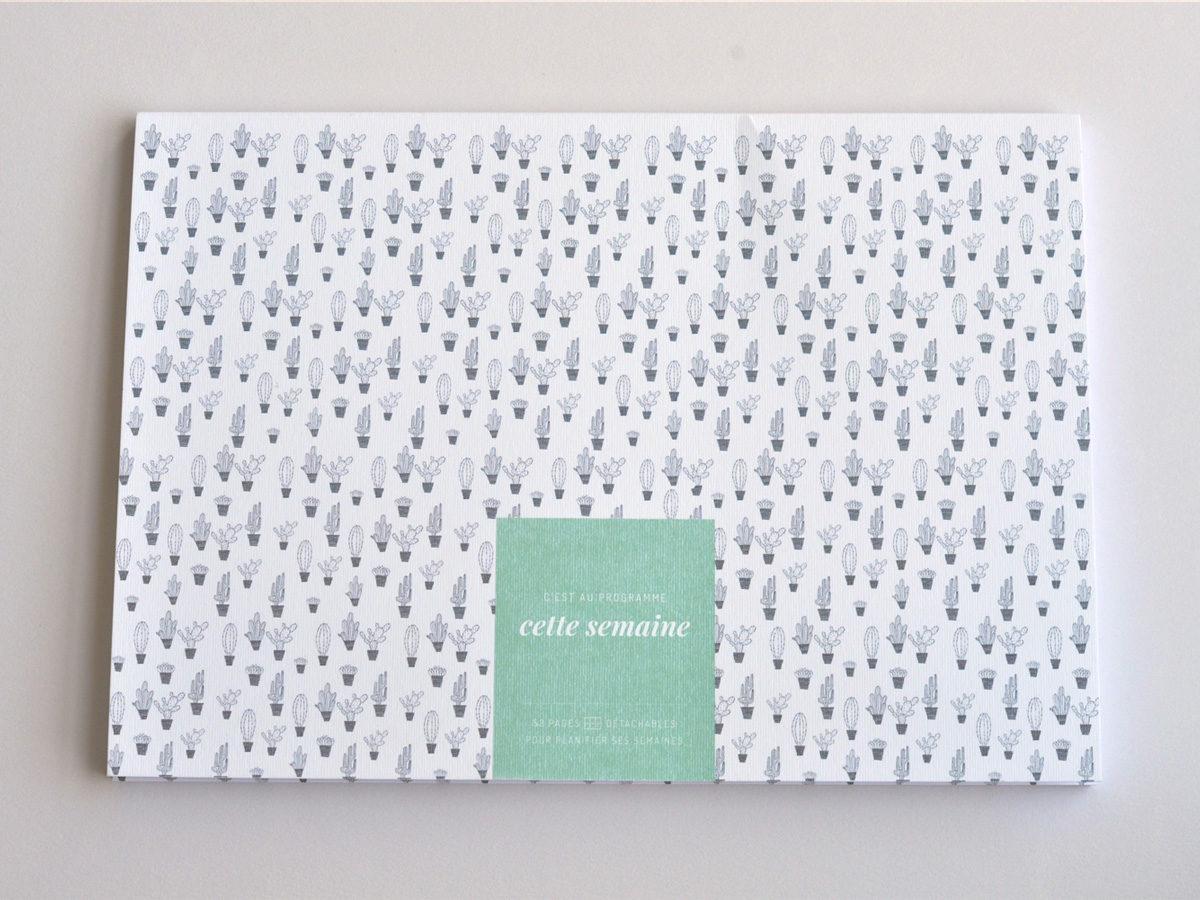 semainier motif cactus, les manies de Marion, papeterie française haut de gamme