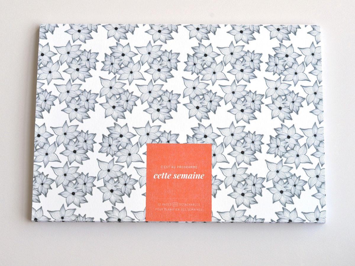 semainier motif fleurs, les manies de Marion, papeterie française haut de gamme