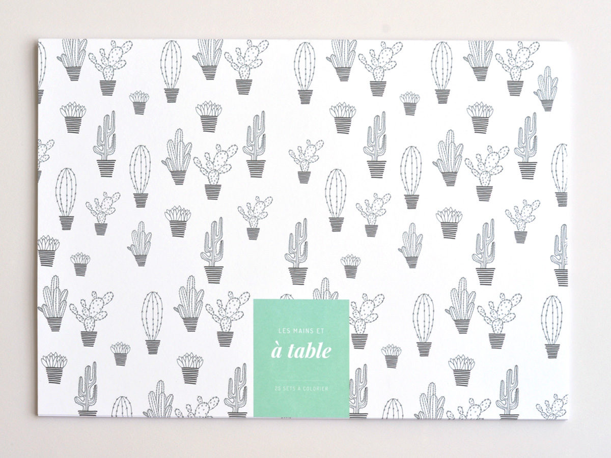 couverture sets de table à colorier motif cactus, les manies de Marion, papeterie française haut de gamme