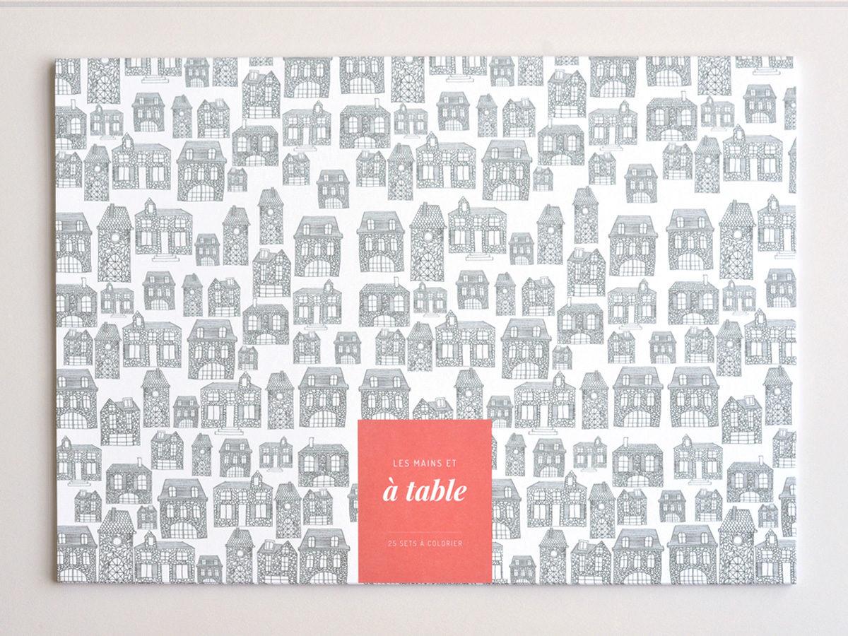 couverture sets de table à colorier motif maison, les manies de Marion, papeterie française haut de gamme