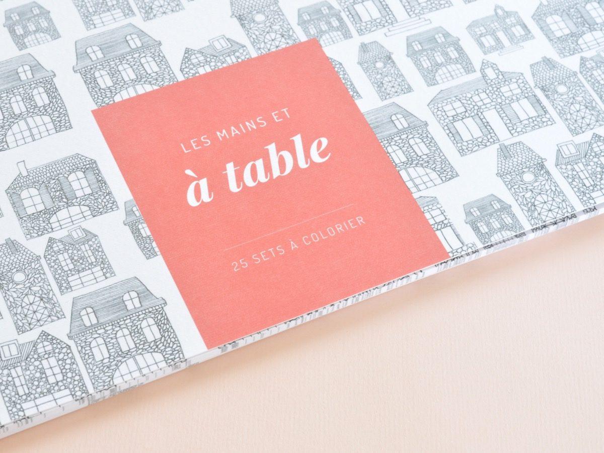 détail couverture sets de table à colorier motif maison, les manies de Marion, papeterie française haut de gamme