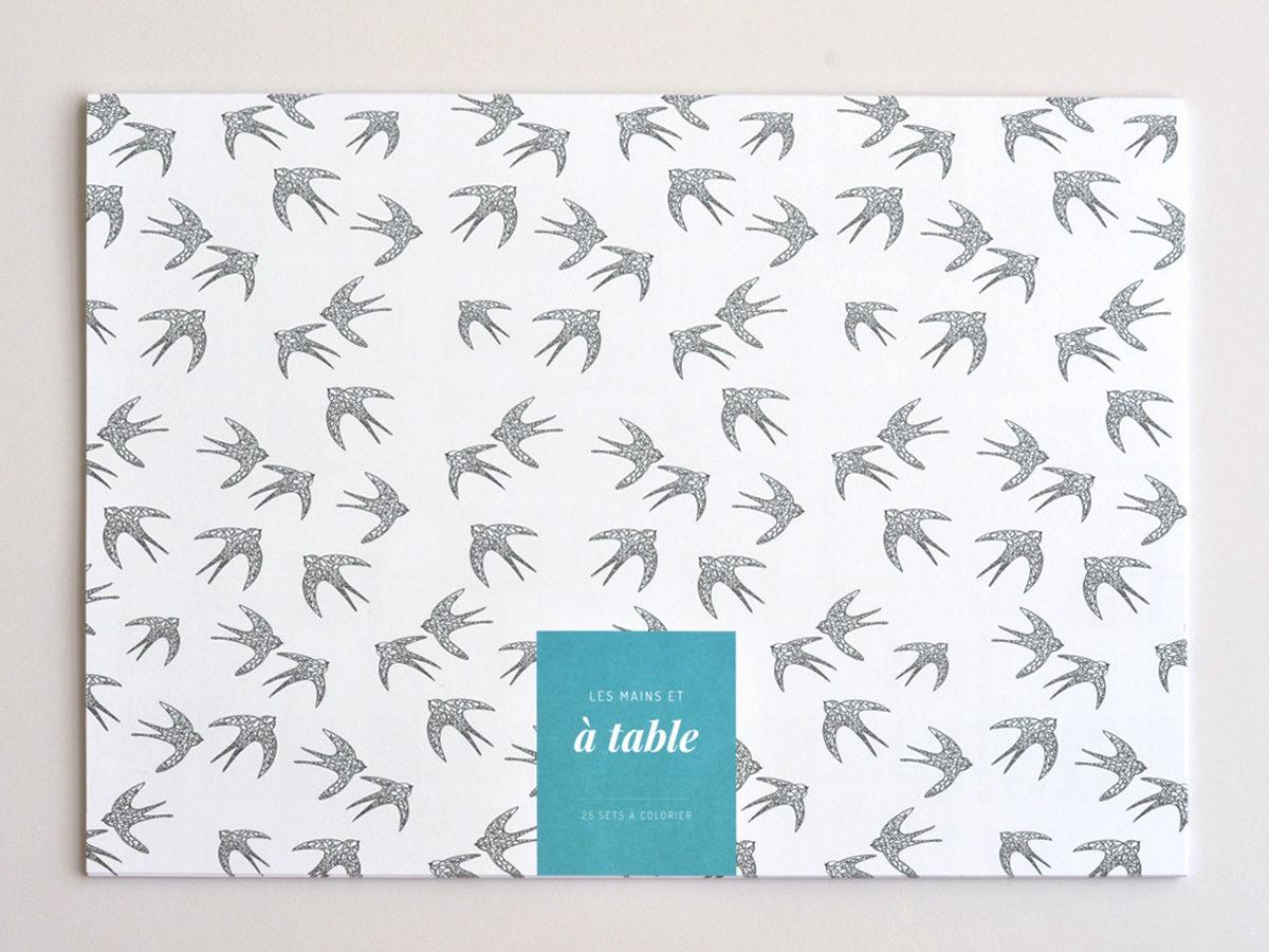couverture sets de table à colorier motif oiseaux, les manies de Marion, papeterie française haut de gamme